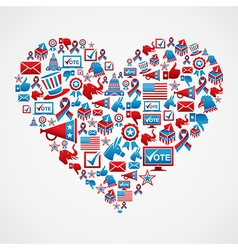 US elections icons heart shape vector image vector image