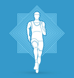 athlete runner running front view vector image vector image