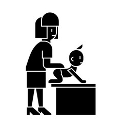 baby massage mother with baby icon vector image vector image