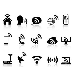black network icons set vector image