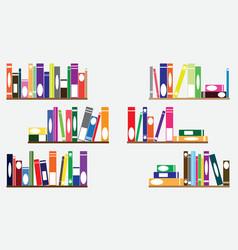 Books on shelves vector image