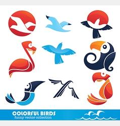 cartoon birds collection vector image