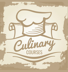 Culinary courses grunge emblem or logo design vector