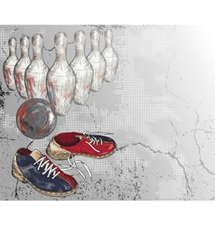 Grunge Bowling Background vector image