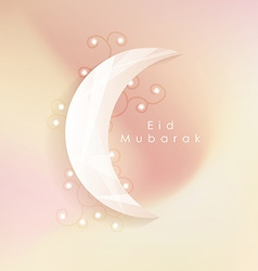 islamic eid mubarak greeting card with soft vector image vector image