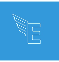 Letter E logo with wings in thin lines vector image