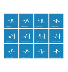 music waves icons on blue background vector image vector image
