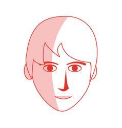Red silhouette shading front face man with vector