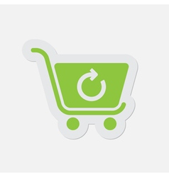 Simple green icon - shopping cart refresh vector