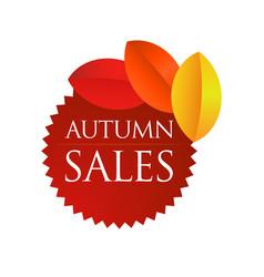 Autumn sales - brown round emblem vector