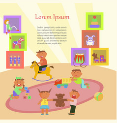 children playing in kindergarten vector image vector image