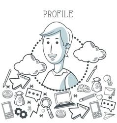 Doodle icon design profile icon draw concept vector
