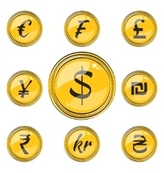 Flat Coins with Currency Symbols vector image vector image