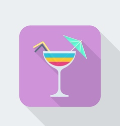 flat style cocktail icon with shadow vector image vector image