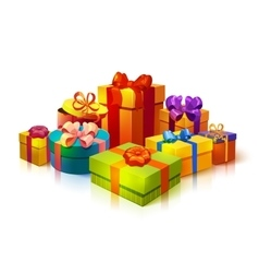 Gift Boxes Pile Composition vector image