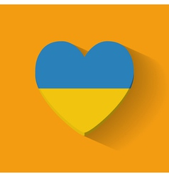 Heart-shaped icon with flag of Ukraine vector image vector image