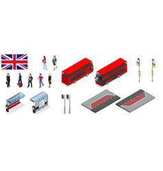 isometric set of london double decker red bus and vector image vector image