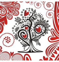 Valentines day card tree with hearts vector image vector image