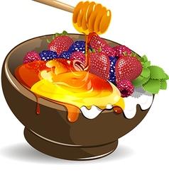 Berries yogurt and honey vector image vector image