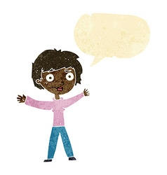 Cartoon woman waving arms with speech bubble vector