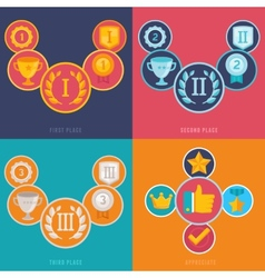 gamification icons in flat style vector image