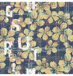 Grunge Hibiscus flowers seamless pattern vector image vector image