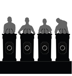 man silhouette set speak on platform vector image vector image