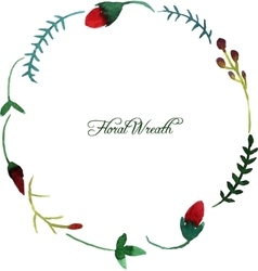 round wreath with watercolor red flowers vector image vector image