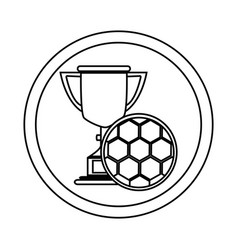 silhouette circular frame with trophy with soccer vector image