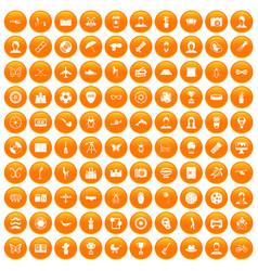 100 photo icons set orange vector