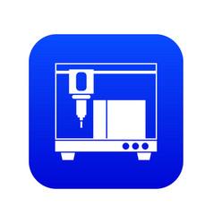 3d printer icon digital blue vector