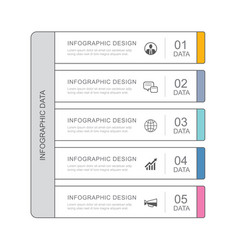 5 data infographics tab paper thin line index vector