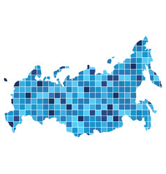 abstract russia map consists squares of vector image