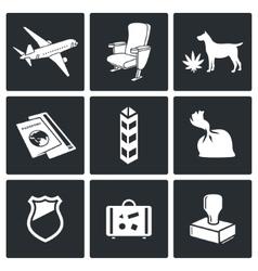 Airplane drug trafficking icon set vector