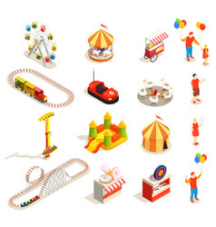 Amusement park isometric icons vector