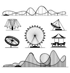 Amusement ride or luna park roller coasters vector