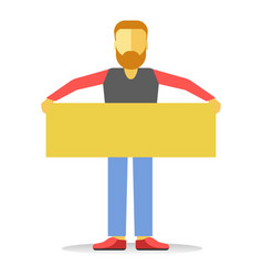 Anonymous faceless striking man with beard holding vector