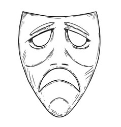 Artistic drawing of sad comedy mask vector