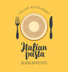 Banner or menu with italian pasta in retro style vector