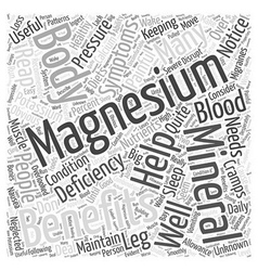 Benefits of magnesium Word Cloud Concept vector