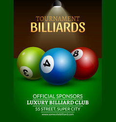 Billiard challenge poster 3d realistic balls on vector