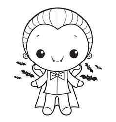 Black and white cute dracula mascot halloween day vector