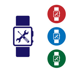 Blue smartwatch with screwdriver and wrench icon vector