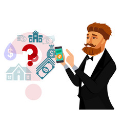 Businessman with smartphone flat vector
