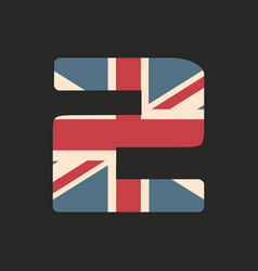 Capital number two with uk flag texture isolated vector