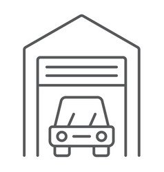 car garage thin line icon automobile and home vector image
