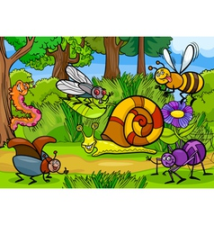 cartoon insects on nature rural scene vector image vector image
