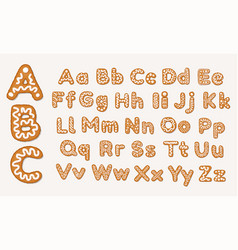 christmas or new year gingerbread cookies alphabet vector image
