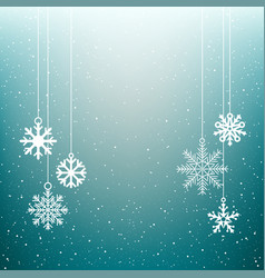 christmas snowflake blue winter background vector image