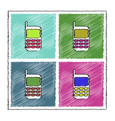 Collection of flat shading style icons cellphone vector